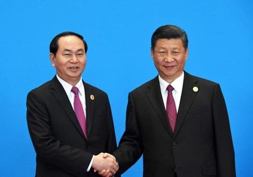 Chủ tịch nước Trần Đại Quang và Tổng bí thư, Chủ tịch Trung Quốc Tập Cận Bình tại Diễn đàn cấp cao hợp tác quốc tế Vành đai và Con đường tháng 5/2017, tại Trung Quốc (ảnh: QĐND)