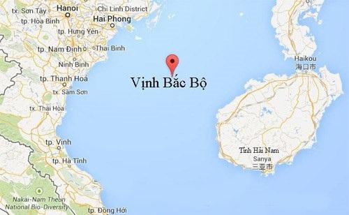 Vùng biển Vịnh Bắc Bộ (ảnh: Google map)