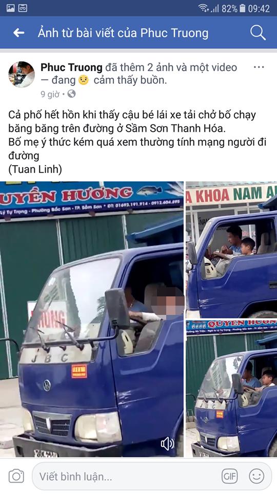 Hình ảnh bé trai lái xe đi bon bon trên đường khiến cộng đồng mạng xôn xao