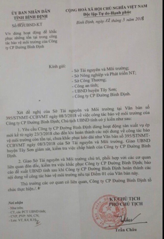 UBND tỉnh Bình Định ra văn bản tạm đình chỉ hoạt động đối với BISUCO.