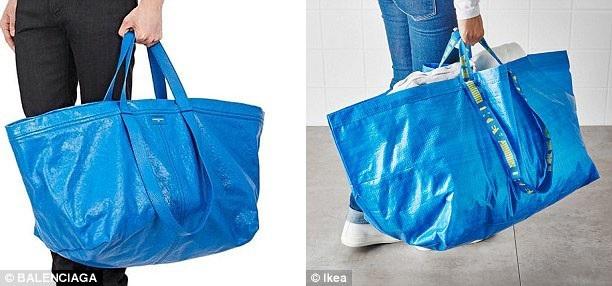 Một thương hiệu thời trang của Tây Ban Nha từng bán mẫu túi xách lấy ý tưởng từ túi nhựa đựng đồ trong siêu thị (phải) với giá hơn 2.000 USD.