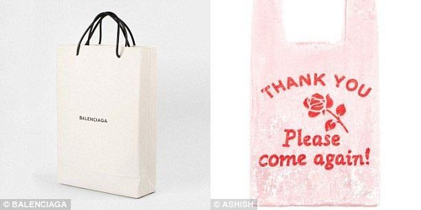 Chiếc túi xách bằng da màu trắng có quai đen, thoạt tiên trông giống như bất cứ chiếc túi giấy bình thường nào, nhưng kỳ thực đó là túi xách tay hàng hiệu có giá 1.100 USD (trái); hay chiếc túi gắn hạt lấp lánh lấy cảm hứng từ túi nilon mua hàng, được thực hiện bởi thương hiệu thời trang của Anh, có giá 600 USD (phải).