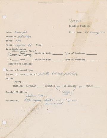 Tờ đơn xin việc của Steve Jobs được viết một cách sơ sài và cẩu thả