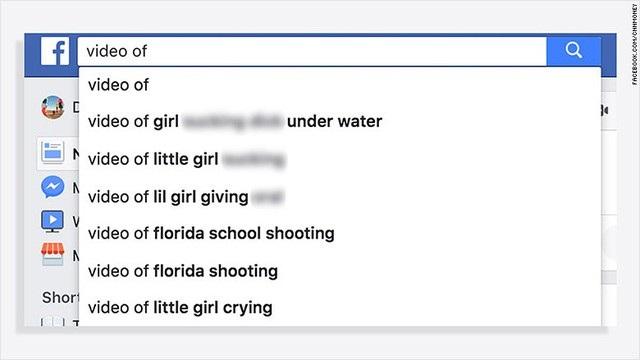 Nội dung không phù hợp xuất hiện ở phần gợi ý nội dung tìm kiếm trên Facebook.