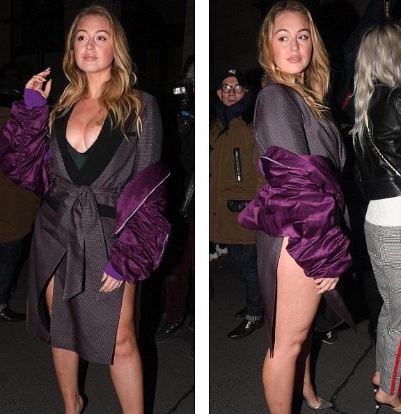 Người mẫu Iskra Lawrence sexy dự sự kiện trong tuần lễ thời trang Paris ngày 2/3 vừa qua