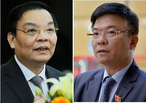 Bộ trưởng KH-CN Chu Ngọc Anh (trái) và Bộ trưởng Tư pháp Lê Thành Long được thực hiện phiên trả lời chất vấn đầu tiên theo hình thức hỏi nhanh đáp gọn.
