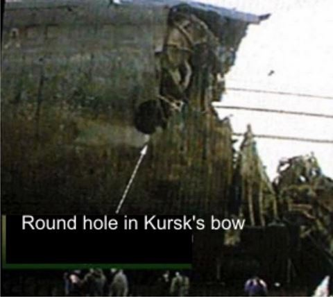 Dấu vết nghi là do ngư lôi Mk 48 gây ra trên thân tàu ngầm tấn công Kursk của Hải quân Nga