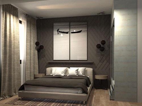 Căn phòng ngủ được thiết kế tạo cảm giác yên bình, tĩnh lặng.