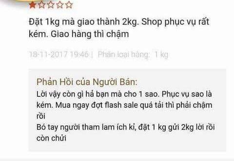Hay như vị khách khó tính này thì nhất định chỉ mua 1kg thôi, chuyển 2kg đến là không lấy. Một số người hóm hỉnh bình luận lại rằng: Chắc người mua đang giảm cân nên không dám ăn nhiều.