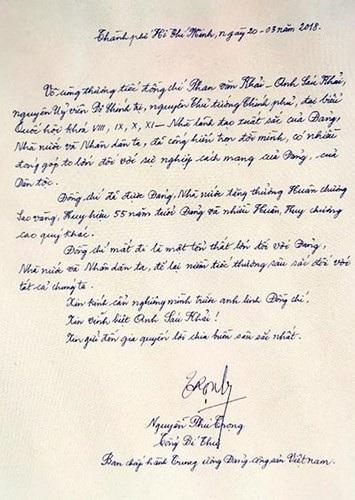 Tổng bí thư Nguyễn Phú Trọng viết trong sổ tang nguyên Thủ tướng Phan Văn Khả (Ảnh: Vov)