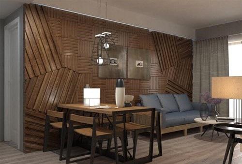 Bức tường phòng khách trang trí gỗ họa tiết làm điểm nhấn.