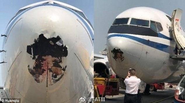 Đầu máy bay của hãng Air China đã thủng lớn sau khi va chạm với chim. (Ảnh: Huanqiu)