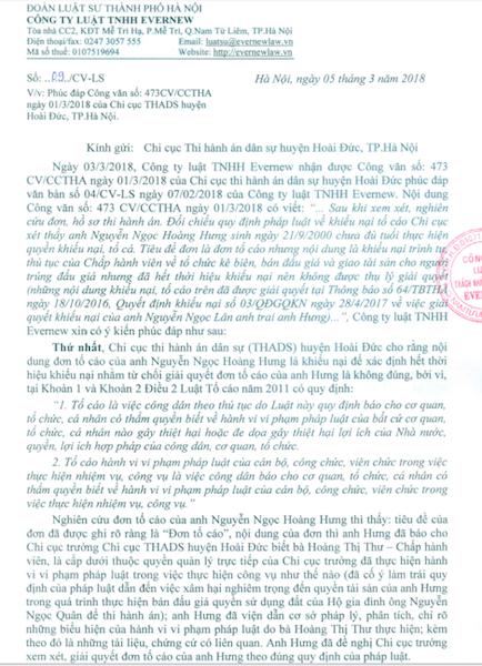 Hà Nội: Trưởng chi cục thi hành án yêu cầu công dân phải đủ tuổi mới được tố cáo? - 2