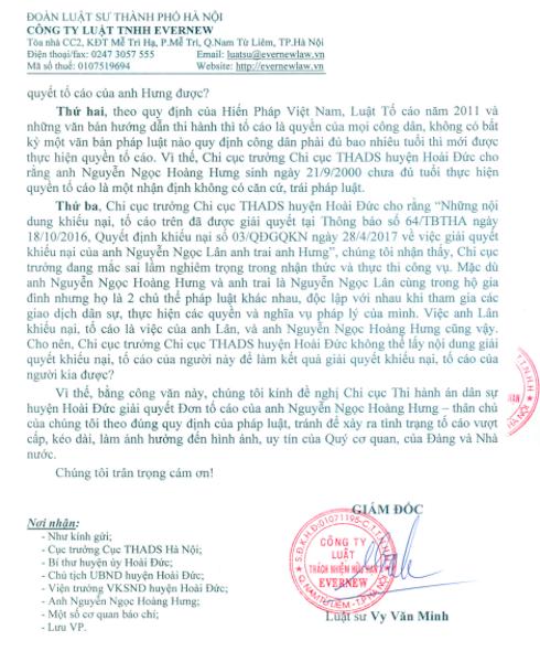 Công ty Luật TNHH Evernew phản bác quan điểm của cơ quan thi hành án huyện Hoài Đức.