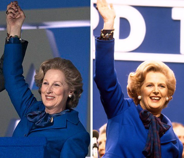 """Meryl Streep (trái) vào vai """"bà đầm thép"""" - cố Thủ tướng Anh Margaret Thatcher trong """"The Iron Lady"""" (2011)."""