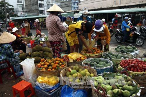 Một khu chợ đầu mối nông sản ở Hà Nội. Ảnh: Tin tức