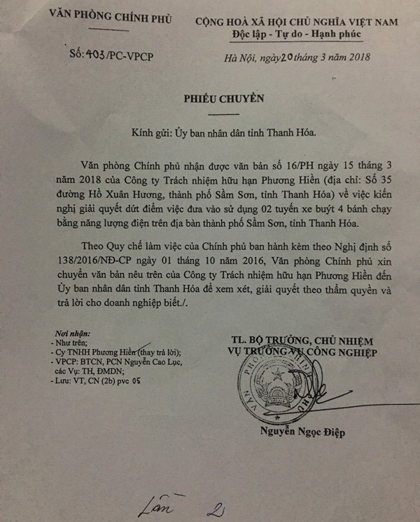 Phiếu chuyển văn bản của Văn phòng Chính phủ