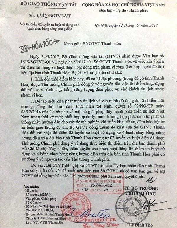 Công văn hỏa tốc của Bộ GTVT gửi Sở GTVT Thanh Hóa