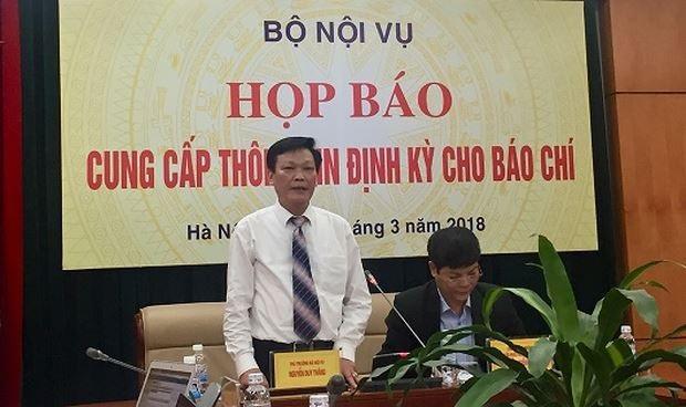 Thứ trưởng Bộ Nội vụ Nguyễn Duy Thăng chủ trì họp báo.