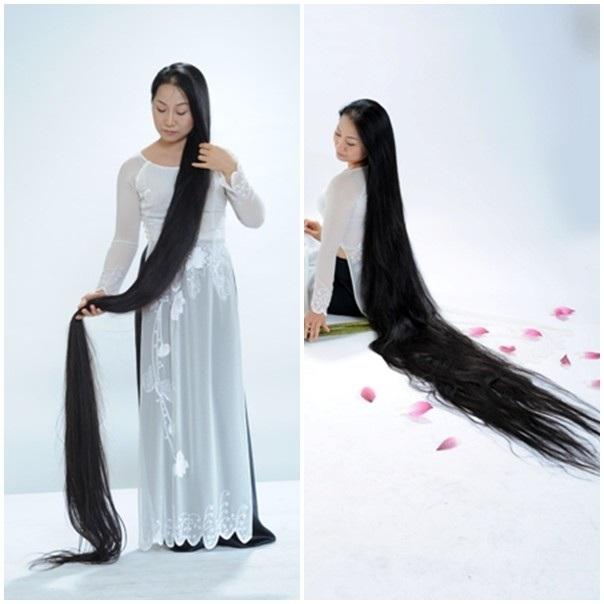 Để giữ cho tóc suôn mềm, đen bóng tự nhiên chị không dùng dầu gội mà thường gội bằng lá hương nhu, bồ kết, chanh, xả