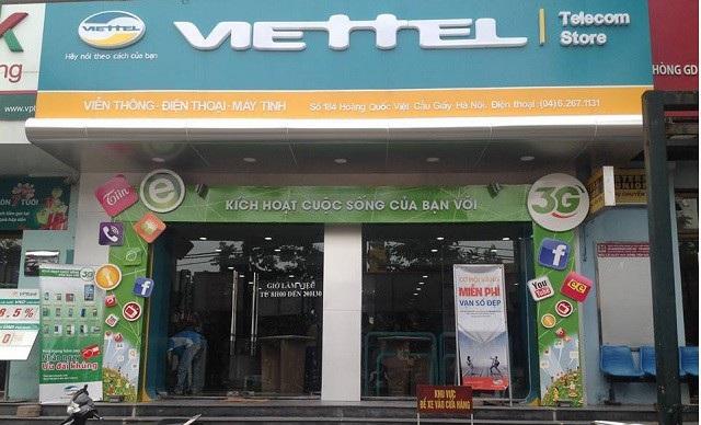 Một cửa hàng Viettel Telecom thuộc Tập đoàn Viễn thông Quân đội.