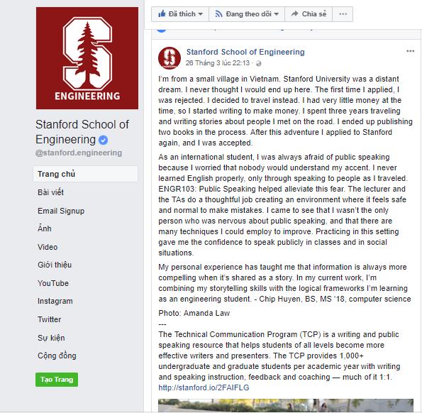 Fanpage ĐH Stanford chia sẻ câu chuyện vượt qua nỗi sợ đám đông của nữ sinh Việt - 1