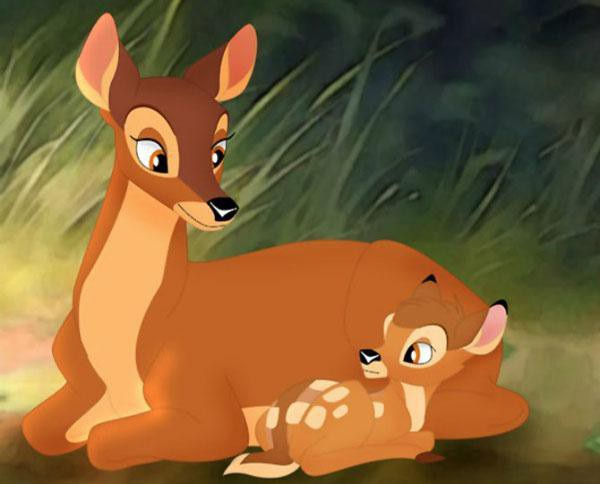 Mẹ của chú nai Bambi đã bị thợ săn sát hại ngay đầu phim.