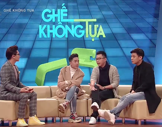 Trung Ruồi, Minh Tít, Đỗ Duy Nam (từ phải qua trái) chia sẻ những câu chuyện đời tư tại chương trình Ghế không tựa. (Ảnh chụp màn hình).