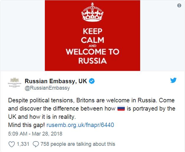 Câu khẩu hiệu Keep Calm and Welcome to Russia được cho là ẩn ý của Đại sứ quán Nga tại Anh (Ảnh: Twitter)