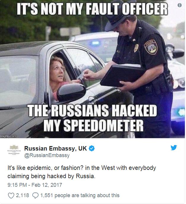 Bức ảnh châm biếm cáo buộc Nga can thiệp bầu cử của các nước phương Tây được Đại sứ quán Nga đăng trên Twitter năm 2017 (Ảnh: Twitter)