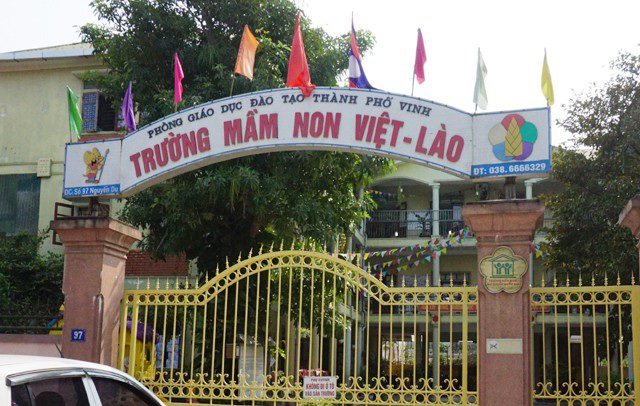 Trường Mầm non Việt - Lào, nơi xảy ra vụ việc phụ huynh Phan Thị Nghĩa vào tận lớp học đánh, bắt cô giáo thực tập của con mình quỳ xin lỗi