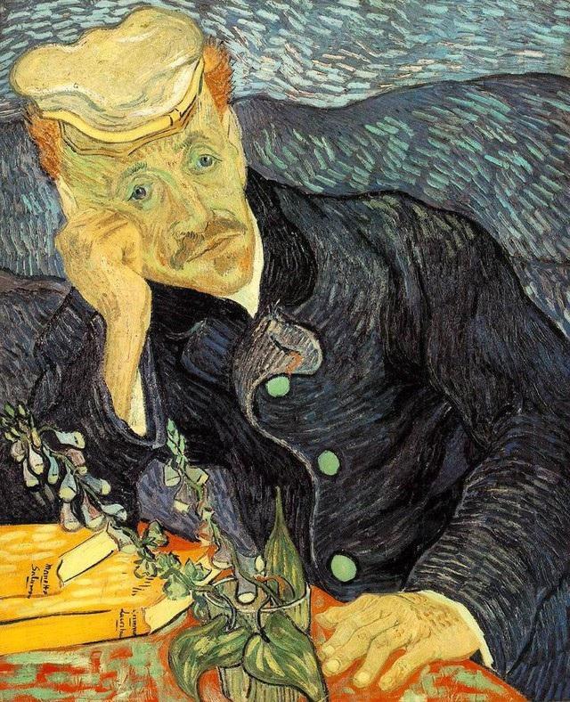"""4 - """"Portrait of Dr. Gachet"""" (Chân dung bác sĩ Gachet - 1890) của danh họa người Hà Lan Vincent Van Gogh. Tác phẩm từng được mua hồi năm 1990 bởi nhà sưu tầm hội họa người Nhật Ryoei Saito với mức 82,5 triệu USD, hiện giờ tương đương với 151,2 triệu USD (3.436 tỷ đồng)."""
