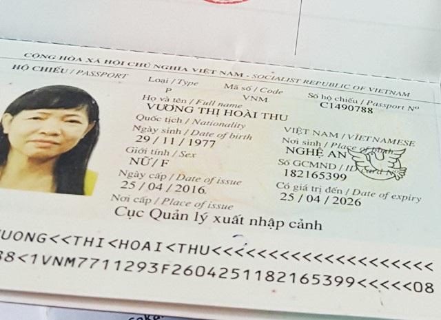 Cuốn hộ chiếu cấp đổi lần cuối cùng mang tên Vương Thị Hoài Thu với ảnh chân dung của bà Trần Thị Bình. Với cuốn hộ chiếu này, bà Bình được làm thủ tục XKLĐ với tên người khác và tử vong sau đó không lâu