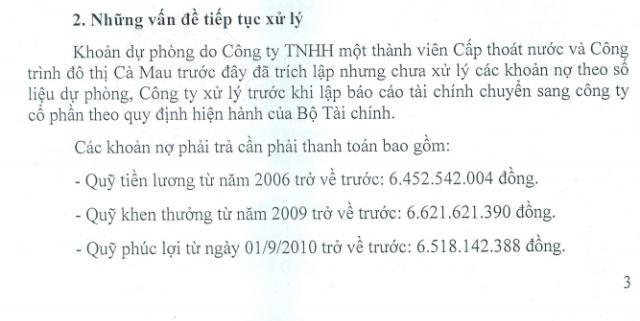 Năm 2015, UBND tỉnh Cà Mau có quyết định phê duyệt phương án cổ phần hóa, trong đó có các khoản nợ mà công ty phải trả. Tuy nhiên, cho đến nay, Công ty Cấp nước Cà Mau vẫn chưa thực hiện.