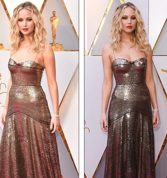 Jennifer Lawrence diện váy nhũ vàng lấp lánh