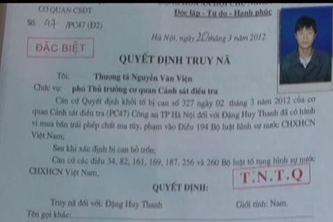 Quyết định truy nã đối tượng Đặng Huy Thanh