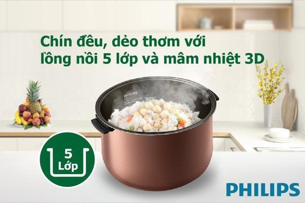 Nồi cơm điện Philips giúp mẹ chuẩn bị cơm chín đều, dẻo thơm, ngọt thanh và luôn ấm nóng như vừa mới nấu suốt 48 giờ.