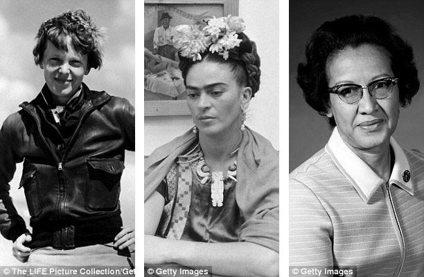 """Ba búp bê đầu tiên được sản xuất trong dòng búp bê """"Inspiring Women"""" khắc họa chân dung của nữ họa sĩ người Mexico - Frida Kahlo, nữ phi công người Mỹ Amelia Earhart, nhà toán học người Mỹ Katherine Johnson."""