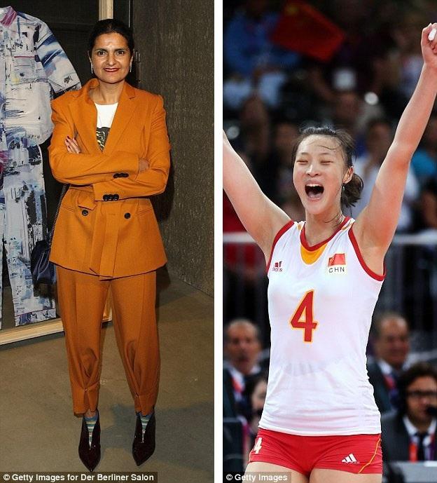 """Nhà thiết kế thời trang người Đức Leyla Piedayesh (trái) và vận động viên bóng chuyền người Trung Quốc - Huệ Nhược Kỳ (phải) được khắc họa trong loạt búp bê """"Inspiring Women""""."""