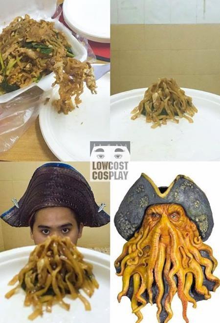 """Ngay cả món mì trộn cũng có thể biến hóa trở thành bộ râu của Davy Jones trong loạt phim nổi tiếng """"Cướp biển vùng Caribe"""""""