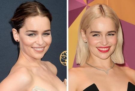 """Emilia Clarke cũng gia nhập trào lưu """"hóa vàng"""" của Hollywood. Tuy vẫn rất xinh đẹp nhưng hình ảnh mới của """"mẹ rồng"""" có vẻ """"ngố tàu"""" hơn xưa khá nhiều."""