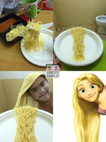 Không có đủ kiên nhẫn để nuôi tóc như công chúa Rapunzel, không sao cả, hãy tìm đến mì gói và khăn tắm như anh chàng này