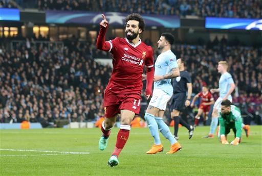 Salah ăn mừng bàn thắng vào lưới Man City