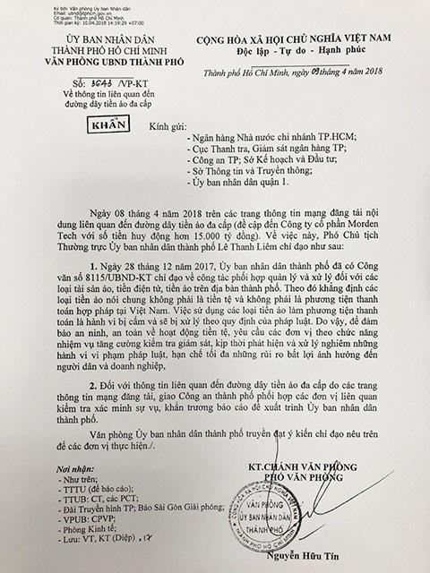 Văn bản khẩn của UBND TPHCM yêu cầu cơ quan chức năng vào cuộc.