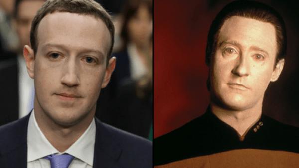 """Nhiều cư dân mạng nhận ra gương mặt của Mark Zuckerberg tại phiên điều trần giống với gương mặt của nhân vật Data trong bộ phim truyền hình """"Star Trek"""". Một điều khá thú vị Data có nghĩa là """"Dữ liệu"""", ám chỉ đến vụ bê bối dữ liệu người dùng mà Facebook đang phải đối mặt."""