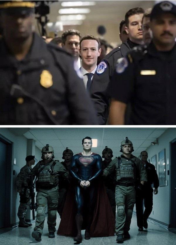 """Hình ảnh CEO Mark Zuckerberg bước vào tòa nhà Quốc hội Mỹ, được sự bảo vệ của lực lượng vũ trang, khiến nhiều người nhớ đến hình ảnh Siêu nhân bị bắt giữ và hộ tống bởi quân đội trong phim, chính là khoảng cách mong manh giữa """"người hùng và kẻ xấu"""""""