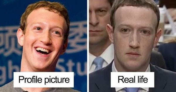 Sự khác biệt trên hình ảnh đại diện và gương mặt của Mark Zuckerberg khi xuất hiện tại phiên điều trần.