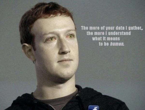 Nhiều cư dân mạng xem Mark Zuckerberg như một robot và mục đích lập ra Facebook là để hiểu rõ hơn về con người, từ đó có thể trở thành... một con người