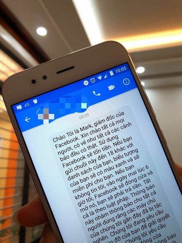Nội dung đoạn tin nhắn được gửi đến cảnh báo về việc Facebook sẽ thu phí người dùng
