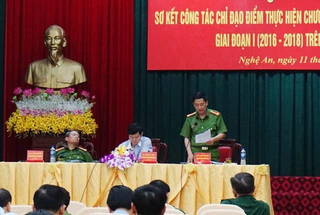 Đại tá Nguyễn Mạnh Hùng – Phó GĐ Công tỉnh Nghệ An phát biểu tại Hội nghị sơ kết công tác chỉ đạo điểm thực hiện chương trình phòng chống mua, bán người giai đoạn 1 (2016-2018)